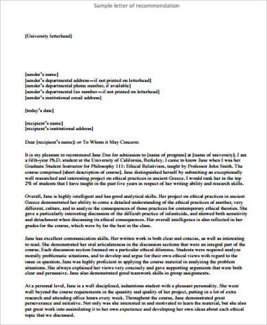 personal letter of recommendation for university