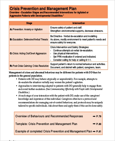 8 sample behavior management plans sample templates for Sample crisis management plan template
