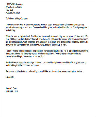 personal character letter of recommendation