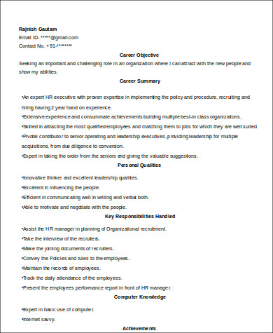 experienced hr executive resume