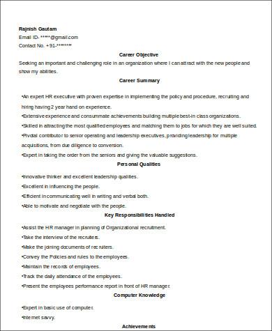 Experienced HR Executive Resume  Hr Executive Resume