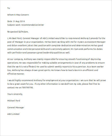 personal assistant letter of recommendation example