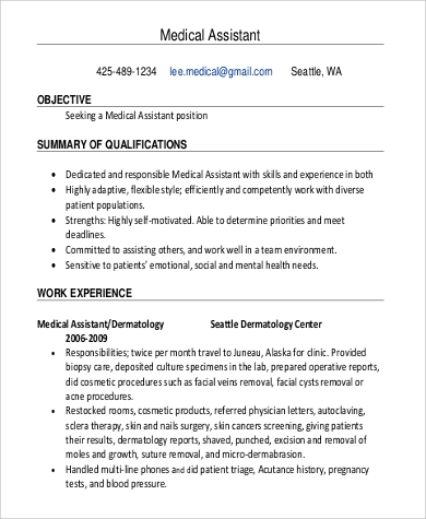 medical assistant resume in pdf