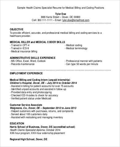 medical billing resume example