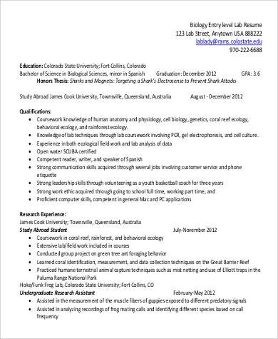 bio medical resume sample