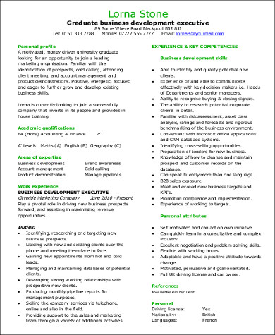 Ordinaire Graduate Business Development Executive Resume In PDF