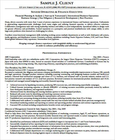 senior operating executive resume