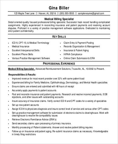 medical billing specialist resume1