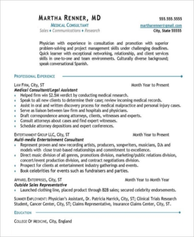 medical consultant resume format