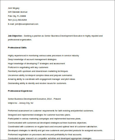 sle business development executive resume 8 exles