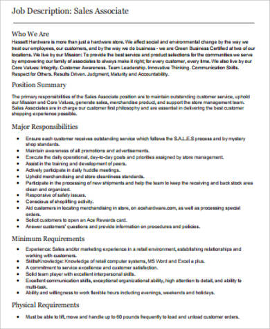 Retail Sales Associate Job Description Example