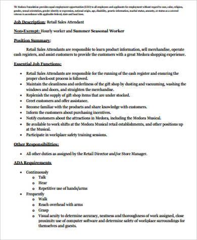 Retail Sales Associate Job Description Samples