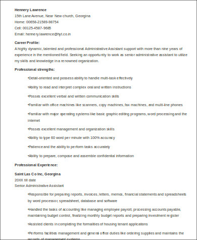 professional executive assistant resumes