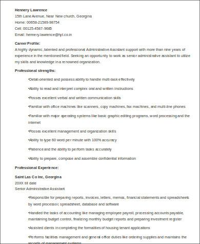 senior executive administrative assistant resume