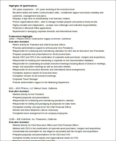 Sample Senior Executive Assistant Resume 6 Examples In