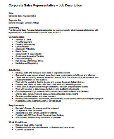 Retail Sales Job Description Sample - 10+ Examples In Word, Pdf