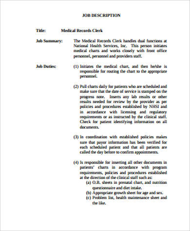 medical health records job description pdf