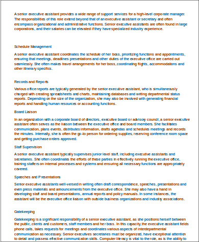 Sample Senior Executive Assistant Resume - 6+ Examples in ...