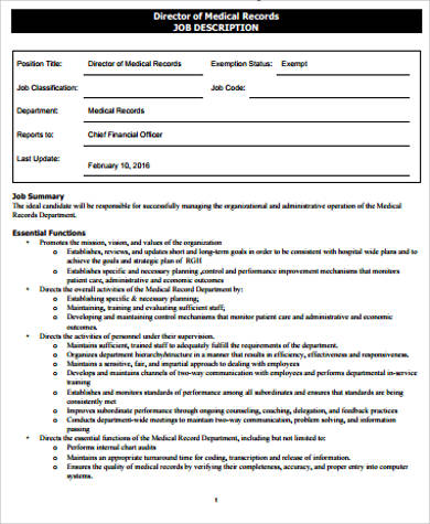 director of medical records job description