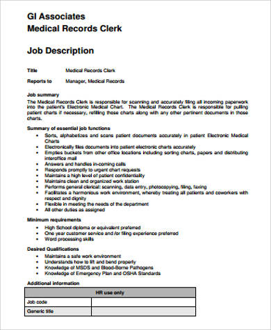 Medical Records Job Description Sample - 11+ Examples In Word, Pdf