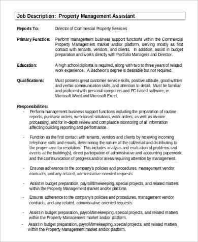 property management assistant job description