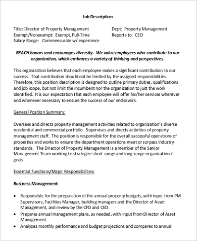 Property Management Job Description Sample   Examples In Word Pdf