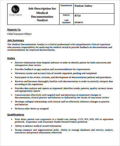 medical records analyst job description