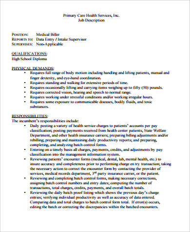 medical biller records job description