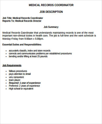 medical records coordinator job description