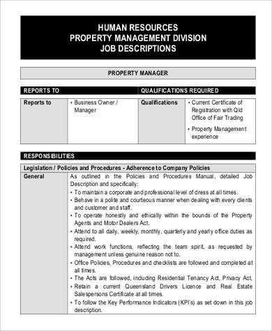 hr property management job description
