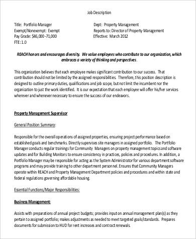 property management supervisor job description example