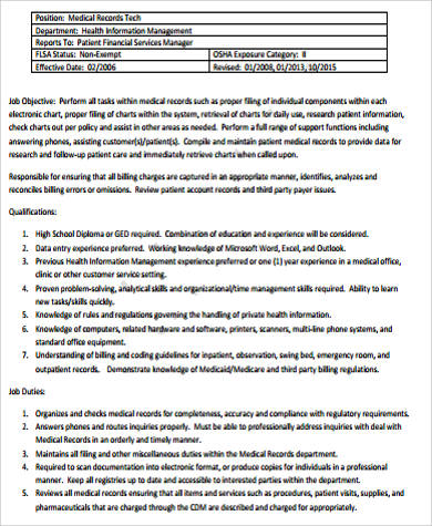 best photos of records clerk resume medical records medical records job description sample 11