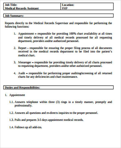 Medical Records Job Description Sample   Examples In Word Pdf