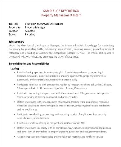 property management intern job description