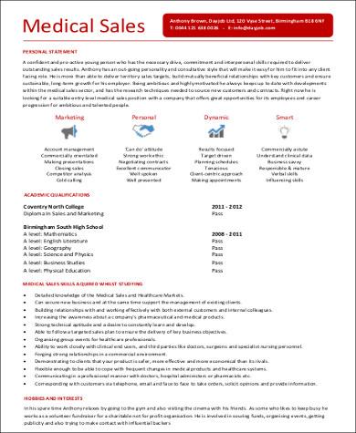sample entry level medical sales resume