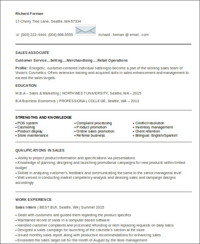 entry level sales associate resume