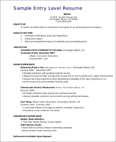 entry level sales resume format pdf