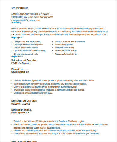 Sales Account Executive Resume  Sales Account Executive Resume