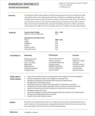 entry level account executive resume