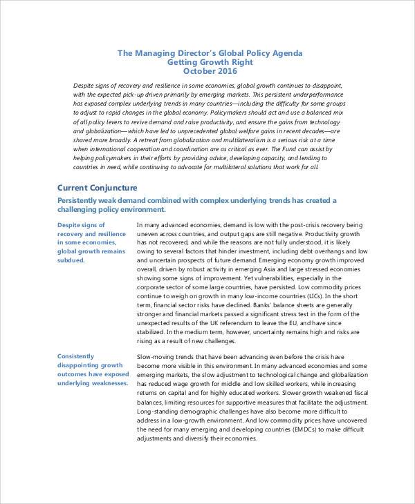 global policy agenda