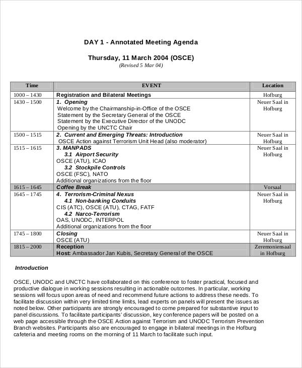 annotated meeting agenda