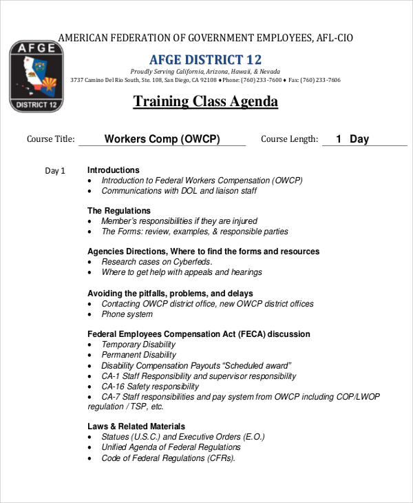 training class agenda