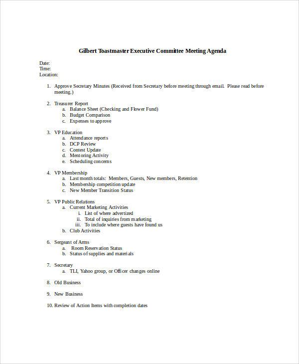 executive meeting agenda1