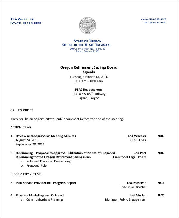 retirement board agenda