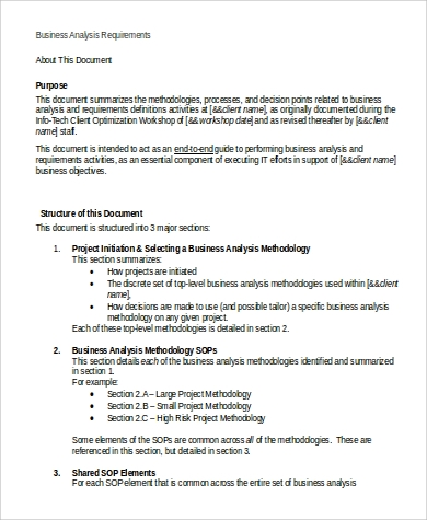 Beautiful Business Analysis Requirements Document Format