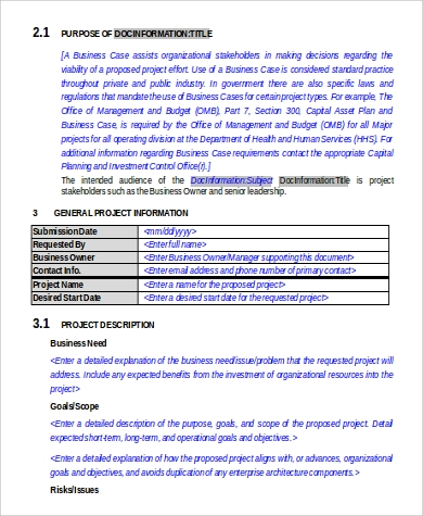 business case requirements document in word