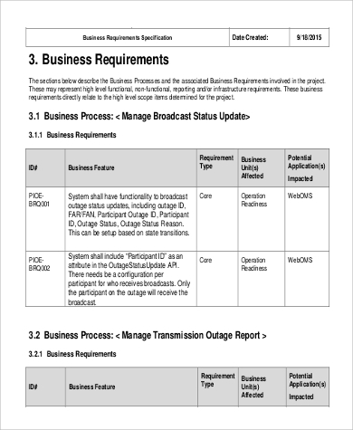 Business Requirement Document Sample   Examples In Word Pdf