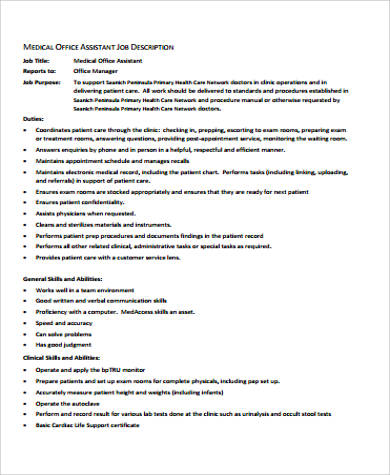 assistant medical office manager job description