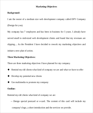 Marketing Objective Example   Samples In Word Pdf