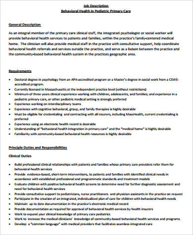 Medical Office Manager Job Description Sample   Examples In Word Pdf